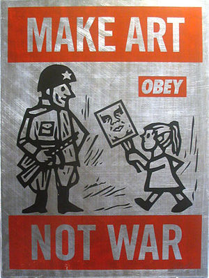 Make Art Not War on Metal Fine Art Piece